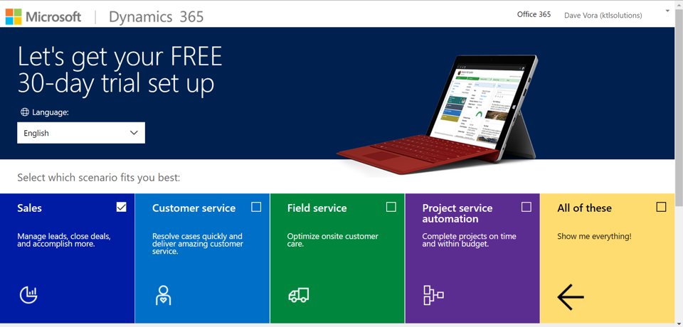 Get Started with Dynamics 365 Customer Engagement Trials